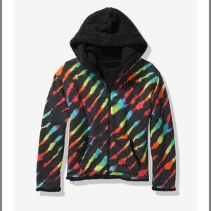 VS pink bling reversible Sherpa lined full zip S